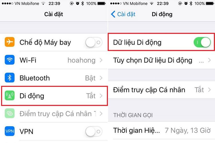 Bật mạng dữ liệu di động khi iPhone không thể chia sẻ mạng